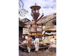 "Edwin Lord Weeks Birdhouse and Market - Ahmedabad, India - 16"" x 24"" Premium Canvas Print"