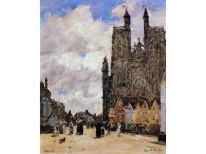 "Eugene-Louis Boudin Abbeville, Street and the Church of Saint-Folfran - 16"" x 20"" Premium Canvas Print"