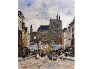 "Eugene-Louis Boudin Abbeville, Street and the Church of Saint-Vulfran - 16"" x 20"" Premium Canvas Print"