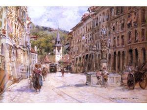 """Georges Stein A Street Scene in Bern - 16"""" x 24"""" Premium Canvas Print"""