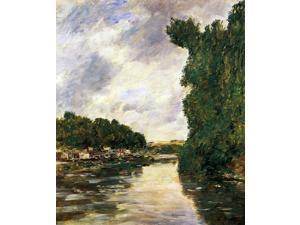 """Eugene-Louis Boudin River near d'Abbeville - 16"""" x 20"""" Premium Canvas Print"""