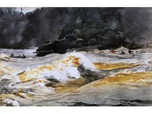 "Winslow Homer Canoes in Rapids, Saguenay River - 16"" x 24"" Premium Canvas Print"