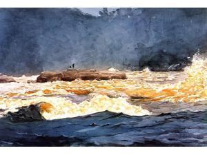 "Winslow Homer Fishing the Rapids, Saguenay - 16"" x 24"" Premium Canvas Print"