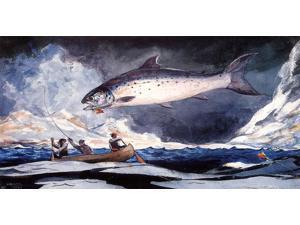 "Winslow Homer A Good Pool, Saguenay River - 14"" x 28"" Premium Canvas Print"