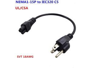 US 3Pin Mickey Mouse Power Cord AC Power short Cord, USA Nema 5-15P Male to IEC320 C5 Female Laptop Power Cable,1ft 3-Prong Notebook/Laptop AC Power Cord IEC320 C5 to NEMA 5-15P UL/CSA listed