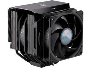 CoolerMaster MasterAir MA624 Stealth CPU Air Cooler, 6 Heat Pipes, Aluminum Dual Tower Black, Push-Pull, Dual SickleFlow 140mm Fans Optional 120mm Fan for RAM Clearance for AMD Ryzen/Intel 1200/1152