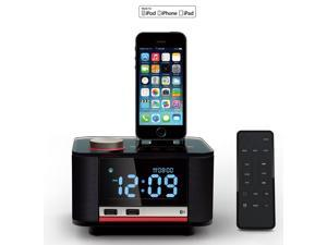 """MFI Bluetooth Speaker Docking Station with 3.2"""" LCD Display Screen Clock FM Aux  Remote Control for iPhone 6/6 Plus/5S/5C/5 MP3 MP4"""