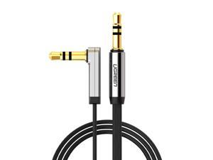 3.5mm Auxiliary Audio Jack to Jack cable 90 Degree Right Angle for Apple iPhone, iPod, iPad, Samsung,Smartphones & Tablets and Speakers,24K Gold Plated Male to Male (1.5FT, Black)10596