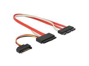 SFF-8639 SATA 3.2 Express 18pin (7+7+4) & 15Pin Power to SFF-8482 SAS Express 29pin Data Raid Cable, 1ft/30cm