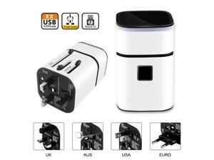 Universal All-in-one USB Worldwide Travel Adapter,International Travel Charger Wall Charger Adapter, With Multi-function Dual USB Ports 5V 3.1A - White