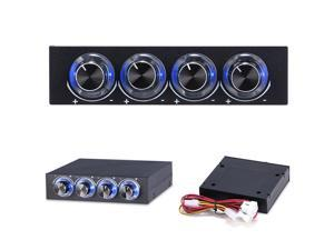 """3.5"""" PC CPU HDD 4 Channel Fan Speed Controller Control Led Cooling Front Panel, 4 Channel Speed Fan Controller with Blue LED GDT Controller STW6002"""