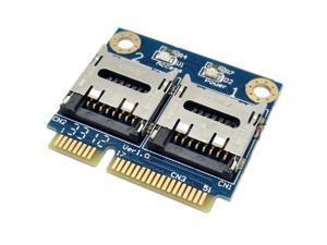Dual Micro SD (TF) Card to Mini PCI-E Express with Half Bracket Memory Card Reader (2 Micro SD to Mini PCI-E)
