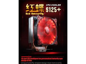 S125+ CPU cooler 16 PCS red LED 12cm 4pin quiet fan for AMD Intel 775 115x 2011 1366 computer cpu cooling radiator fan