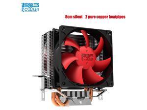 PcCooler S80 CPU Cooler 8cm Silent Fan 2 copper heat pipes CPU cooling radiator for AMD Intel 775 115x CPU Fan queit and bargain