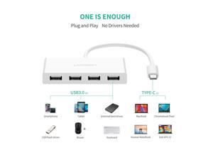 USB C Hub USB 3.1 Type C to USB 3.0 4-Ports Hub Adapter with Portable 5.9 inch Cable and 5Gbps High Speed for New Macbook, ChromeBook Pixel, Matebook and Other USB Type C Laptops PCs 40379