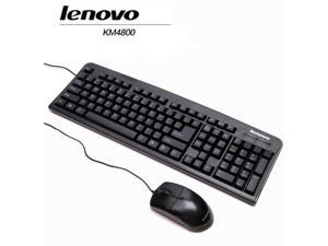 Lenovo KM4800 Wired Keyboard and Mouse Combo  , Waterproof Ultra-thin Desktop/Notebook, Durable, Comfortable, USB Mouse and keyboard Combo