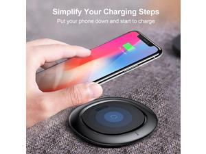 Wireless Charger, Ultra Slim Qi Fast Wireless Charging Pad for iPhone X /iPhone 8 / 8 Plus, Samsung Galaxy Note 8 S8 Plus S8 S7 S7 Edge Note 5 and Standard Charger  (No AC Adapter)