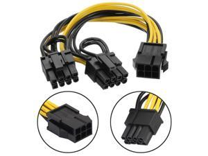 (2 Pack)18AWG PCI-E 6pin to Dual 8pin(6+2) Y-Splitter Extension Cable ,PCI Express PCI-E ATX 6Pin Male to Dual 8Pin & 6Pin Female Video Card Splitter Power Extension Cable ,1ft/30cm