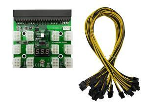 Ethereum Mining ETH ZEC LTC 1200W/750W Server PSU Power Supply Unit to GPU Breakout Board Adapter + 12pcs 6-Pin PCIe to (6+2Pin) PCIe Graphics Card Power Cables