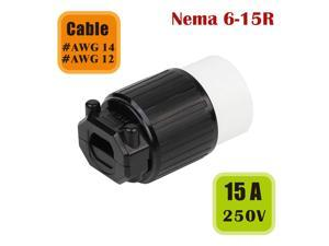 Tekit NEMA 6-15R Female Cord Connector,Industrial Grade 15A 250V Straight Blade Cord Adapter, 60Hz, 2-Pole, 3-Wire, Industrial Grade Straight Blade Cord Connector, NEMA 6-15R, UL Listed (6-15R)