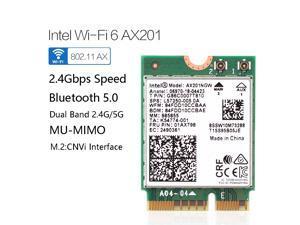 Dual Band 2400Mbps Wireless Intel Wi-Fi 6 AX201 Bluetooth 5.0 NGFF Key E CNVi Wifi Card AX201NGW 2.4Ghz/5Ghz 802.11ac/ax,Interface:NGFF(M.2),22x30mm,just support CNVIO interface.