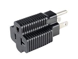 UL listed 15 Amp Household Plug to 20 Amp T-Blade Female Adapter,Nema 5-15P to 5-15R+5-20R AC Adapter, Nema 5-15P to 5-15R, Nema 5-15P to 5-20R Power Adapter, USA 3Pin Male to Female AC Adapter