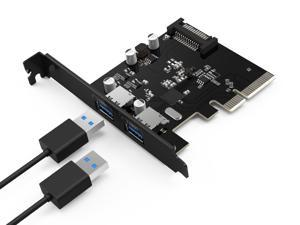QICENT PU31-2P-BK 10Gbps USB 3.1 Dual 2-Port PCI - Express to USB3.0 Controller Adapter Card for  Windows Mini PCI - E USB3.0