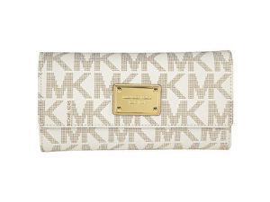 Michael Kors Jet Set Vanilla Logo PVC Checkbook Wallet