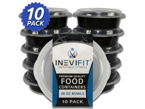 INEVIFIT Meal Prep Food Containers, BPA Free, Reusable, Durable 28 oz. Stackable 10 Pack Meal Prep, Microwavable & Dishwasher Safe, Leak Resistant Bento Lunch Box