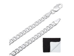 The Bling Factory 6mm Rhodium Plated Smooth Mariner Flat Link Anchor Chain Bracelet Microfiber Jewelry Polishing Cloth