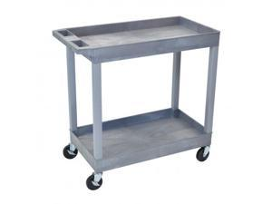 Luxor EC11-G 2 Shelves Multipurpose Storage Plastic Tub Utility Cart - Gray