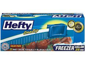 Hefty One Zip Slider Bags Freezer 1gal 2.5 mil Clear 25/Box R82425