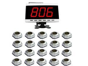 SINGCALL.Wireless Hospital Calling System.Waiter Caller for Customer Getting Attendant by Pressing a Table Button.Pack of 1 pc White Diaplay and 20 pcs Table Bells