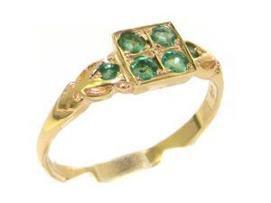 Luxury 9K Yellow Gold Womens Emerald English Victorian Style Cluster Ring - Size 8.5 - Finger Sizes 4 to 12 Available