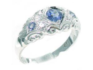 Solid 925 Sterling Silver Womens Tanzanite & Cubic Zirconia CZ Vintage Wedding Band Ring - Size 7.5 - Finger Sizes 4 to 12 Available
