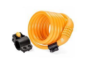 Etronic Security Bike Lock M6 Self Coiling Resettable Combination Lock Bike Cable Lock - 6-Feet x 3/8-Inch - Orange