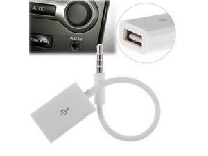 3.5mm Male AUX Audio Plug Jack to USB 2.0 Female Adapter Cable