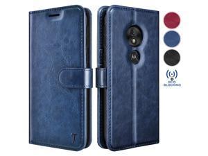 Moto G7 Play Case, Motorola Moto G7 Optimo /T-Mobile Revvlry Wallet Case, Tekcoo Premium [RFID Blocking] Cash ID Credit Card Slots Holder Carrying Vegan Leather Folio Flip Cover Cases [Blue]