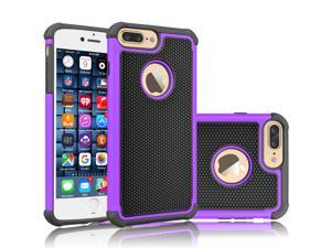 iPhone 8 Plus Case, iPhone 7 Plus Sturdy Case, Tekcoo [Tmajor] Shock Absorbing Cases [Purple] Hybrid Best Impact Bumper Defender Cute Rugged Cover Shell w/Plastic Outer & Rubber Silicone Inner