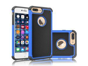 iPhone 8 Plus Case, iPhone 7 Plus Sturdy Case, Tekcoo [Tmajor] Shock Absorbing Cases [Blue] Hybrid Best Impact Bumper Defender Cute Rugged Cover Shell w/Plastic Outer & Rubber Silicone Inner