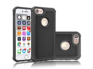 Tekcoo for iPhone 8 Case/iPhone 7 Cute Case, [Tmajor] Shock Absorbing Cases [Black] Hybrid Bumper Sturdy Defender Rugged Cases Cover Plastic Outer & Rubber Silicone Inner