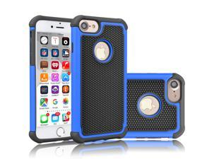 Tekcoo for iPhone 8 Case/iPhone 7 Cute Case, [Tmajor] Shock Absorbing Cases [Blue] Hybrid Bumper Sturdy Defender Rugged Cases Cover Plastic Outer & Rubber Silicone Inner