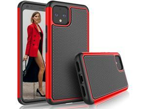 Google Pixel 4 XL Case, 2019 Google Pixel 4XL Cute Case, Tekcoo [Tmajor] Shock Absorbing [Red] Rubber Silicone & Plastic Scratch Resistant Bumper Grip Sturdy Hard Phone Cases Cover