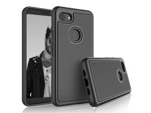 Google Pixel 3A XL Case, 2019 Google Pixel 3A XL Cute Case, Tekcoo [Tmajor] Shock Absorbing Rubber Silicone & Plastic Scratch Resistant Bumper Grip Classic Sturdy Hard Phone Cases Cover [Black]