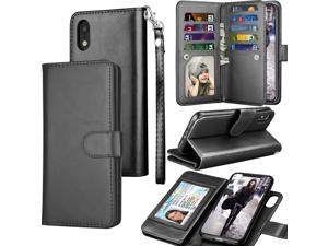 iPhone Xr Case, Tekcoo Wallet Case for iPhone XR Luxury ID Cash Credit Card Slots Holder Purse Carrying Pouch Folio Flip PU Leather Cover [Detachable Magnetic Hard Case] Kickstand strap - Black