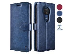 Moto G7 Power Case, Motorola Moto G7 Optimo Maxx/Moto G7 Supra Wallet Case, Tekcoo Premium [RFID Blocking] Cash ID Credit Card Slots Holder Carrying Vegan Leather Folio Flip Cover Cases [Blue]