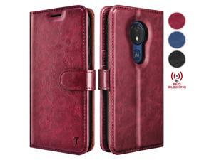 Moto G7 Power Case, Motorola Moto G7 Optimo Maxx/Moto G7 Supra Wallet Case, Tekcoo Premium [RFID Blocking] Cash ID Credit Card Slots Holder Carrying Vegan Leather Folio Flip Cover Cases [Wine Red]