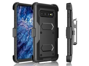 Tekcoo for Galaxy S10e Case/Galaxy S10e Holster Clip, [Tshell] Shock Absorbing [Black] Secure Swivel Locking Belt Defender Heavy Full Body Kickstand Carrying Tank Armor Cases Cover for Samsung S10e