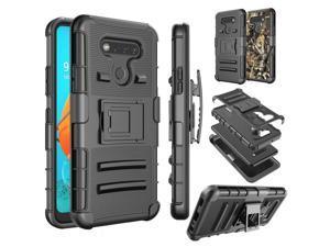 LG K51 Case, LG K51 Holster Belt,Tekcoo [Slide] Shock Absorbing Full Body Protective Shell Secure Swivel Locking Belt Defender Kickstand Carrying Sturdy Hard Phone Cases Cover for LG K51 - Black