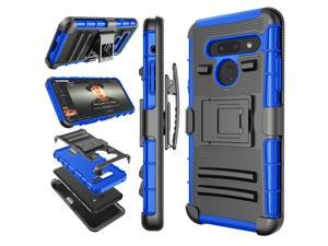 LG G8 Case, 2019 LG G8 ThinQ Holster Clip, Tekcoo [Slide] Shock Absorbing Secure Swivel Locking Belt Defender Full Body Protective Shell Kickstand Carrying Tank Sturdy Phone Cases Cover - Blue